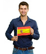 A Young Man Holding A Spain Flag