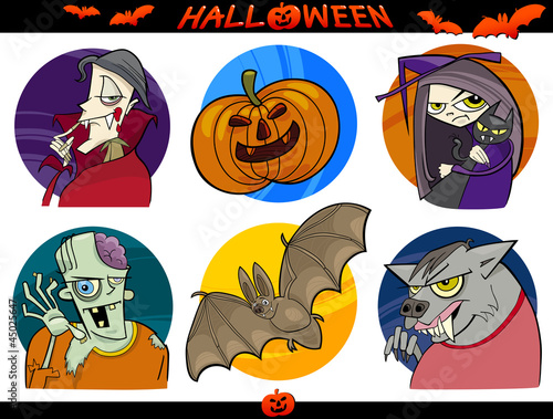 Halloween Cartoon Themes Set
