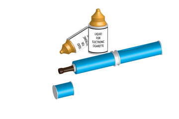 electronic cigarette and liquid - light blue color