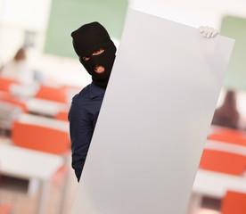 Burglar Man Holding Cardboard