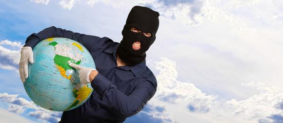 Burglar Man Holding Globe