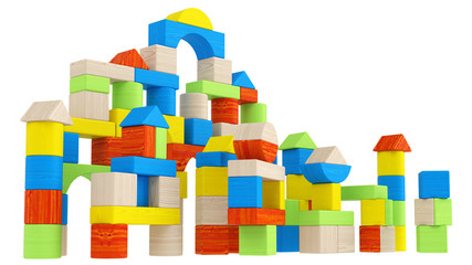 Colourful array of different building blocks