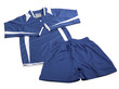 Blue polyester nylon soccer sportswear shorts and sweet shirt is