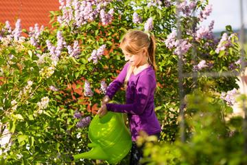 Glückliches Kind gießt Blumen im Garten