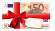 50 Euro Gutschein mit roter Schleife und Etikett