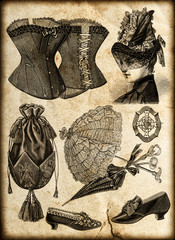 vintage drawing fashion accessories for lady