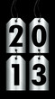 """2013"" 4 Silver Hangtags Black Background"