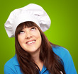 portrait of a female chef looking up