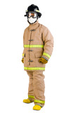 firefighter in a fireman uniform isolated