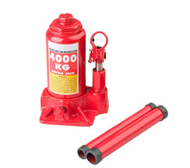 Red bottle jack the car repair tire tool isolated