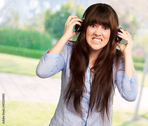 Woman Wearing Headphone