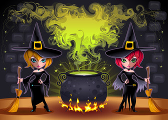 Funny witches with pot. Vector illustration.