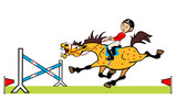 little boy with cheerful pony jumping a hurdle poster