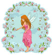 fairy standing in a frame of flowers