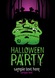 Halloween Party Design template, with frankenstein