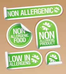 Non allergenic products stickers set