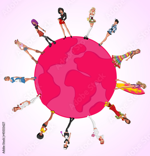 Pink template with beautiful sexy cartoon girls over earth globe