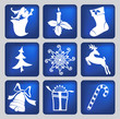 set of christmas icons silhouettes vector llustration