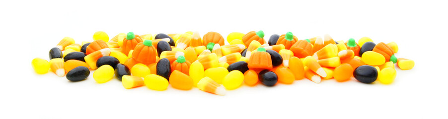 Long edge or border of assorted Halloween candy