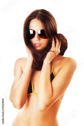 woman in sunglasses and hair around neck