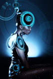 Attractive african woman with hologram on head poster