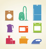 Abstract style home and kitchen equipment icons