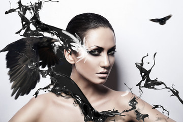 passion brunette woman with black splash and crows