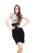 serious businesswoman in skirt