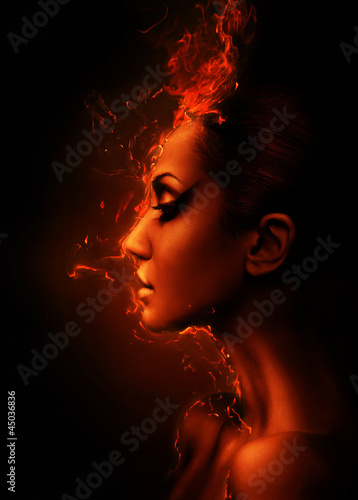 the burning woman head profile
