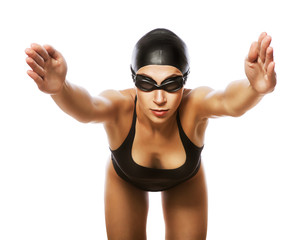 jumping swimmer in black swimsuit