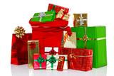 Christmas sack and presents isolated