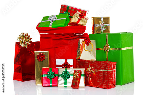 Christmas sack and presents isolated