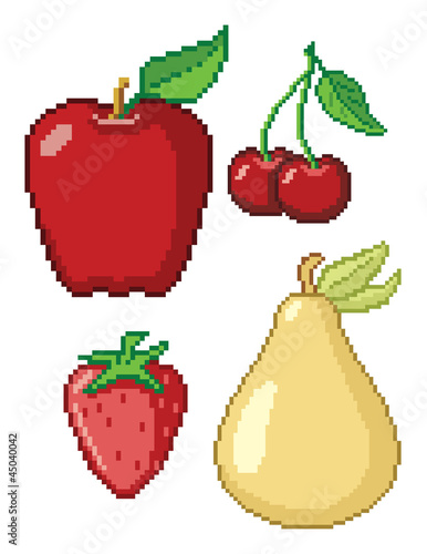Foto op Canvas Pixel 8-Bit Fruit Icons