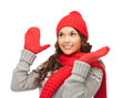 beautiful woman in hat, muffler and mittens