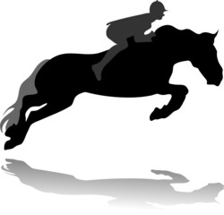 jockey with jumping horse