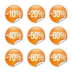 Discount label and sticker / orange