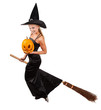 Beautiful sorceress flying on broom on white background