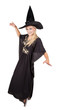 Beautiful sorceress casting a spel on white background