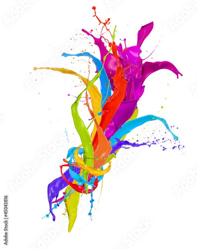 Colored paint splashes bouquet isolated on white background