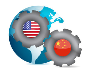 us and china working together concept
