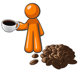Orange Man with Coffee Cup and Coffee Beans