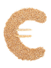 Euro symbol made from wheat grain