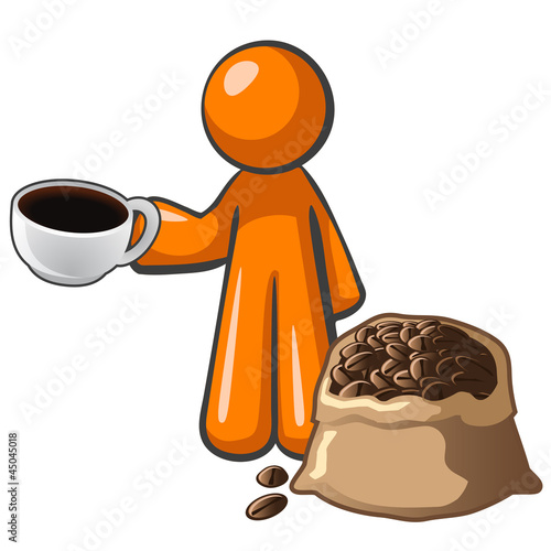 Orange Man with Coffee Cup and Coffee Bag