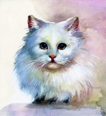 Watercolor Animal Collection: White Cat
