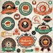 Collection of vintage food labels, badges and icons