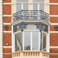 Bay window of an early 1900 building, Amsterdam, the Netherlands