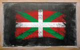 flag of basque on blackboard painted with chalk