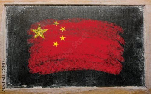 flag of China on blackboard painted with chalk