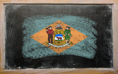 flag of US state of colorado on delaware painted with chalk