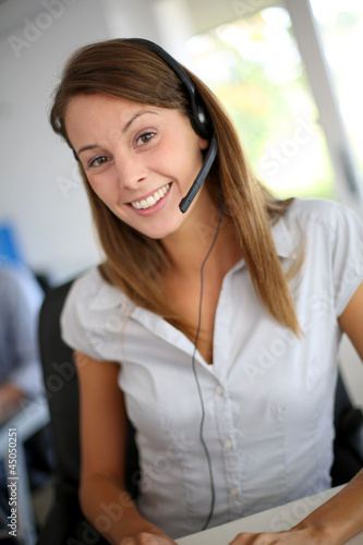 Portrait of beautiful customer service representative